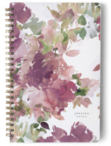 This is a purple journal by Lori Wemple called Bouquets with standard printing on premium cover stock in notebook.