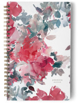 This is a red journal by Lori Wemple called Bouquets with standard printing on premium cover stock in notebook.
