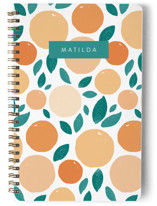 This is a orange journal by Charla Pettingill called Sunny Citrus with standard printing on premium cover stock in notebook.