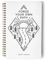 This is a white journal by Ink and Letter called Forge with standard printing on premium cover stock in notebook.