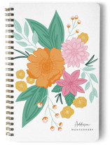 This is a white journal by Mayflower Press called Bloomed with standard printing on premium cover stock in notebook.