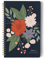 This is a blue journal by Mayflower Press called Bloomed with standard printing on premium cover stock in notebook.