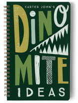 This is a green journal by Baumbirdy called Dinomite Ideas with standard printing on premium cover stock in notebook.