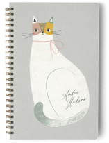This is a grey journal by Monika Drachal called Feline Notes with standard printing on premium cover stock in notebook.