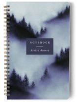 This is a purple journal by Elly called Mountain with standard printing on premium cover stock in notebook.