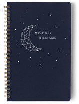 This is a blue journal by LemonBirch Design called Moon ans stars with standard printing on premium cover stock in notebook.