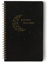This is a black journal by LemonBirch Design called Moon ans stars with standard printing on premium cover stock in notebook.