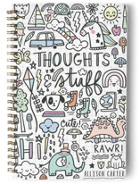 This is a orange journal by Noonday Design called Thoughts & Stuff with standard printing on premium cover stock in notebook.