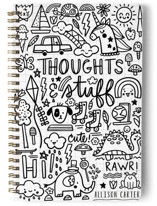 This is a black journal by Noonday Design called Thoughts & Stuff with standard printing on premium cover stock in notebook.