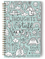 This is a green journal by Noonday Design called Thoughts & Stuff with standard printing on premium cover stock in notebook.