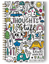 This is a yellow journal by Noonday Design called Thoughts & Stuff with standard printing on premium cover stock in notebook.