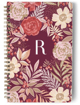 This is a purple journal by Alethea and Ruth called Floral Spread with standard printing on premium cover stock in notebook.