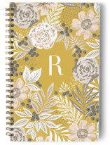 This is a yellow journal by Alethea and Ruth called Floral Spread with standard printing on premium cover stock in notebook.