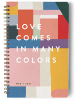This is a pink journal by Meg Gleason called Many Colors with standard printing on premium cover stock in notebook.
