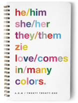 This is a red journal by Jennifer Lew called Pronouns with standard printing on premium cover stock in notebook.