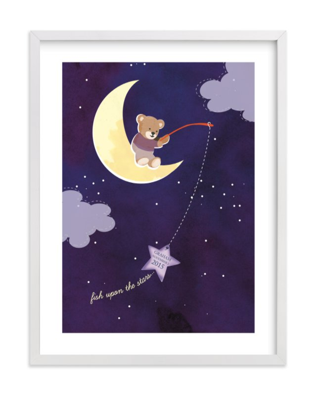 This is a purple nursery wall art by Britt Clendenen called Fish Upon A Star with standard.