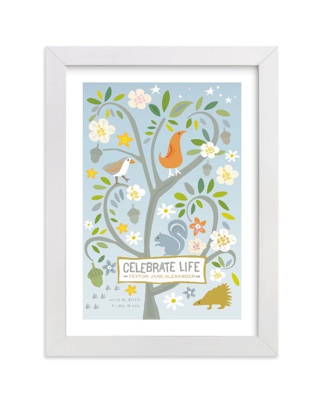 This is a blue nursery wall art by Griffinbell Paper Co. called Celebrate Life with standard.