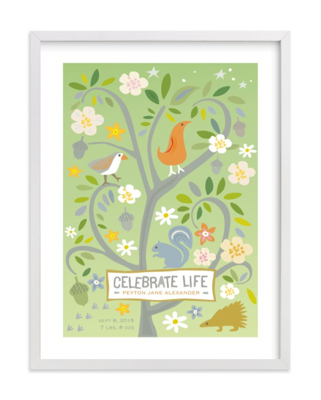 This is a green nursery wall art by Griffinbell Paper Co. called Celebrate Life with standard.