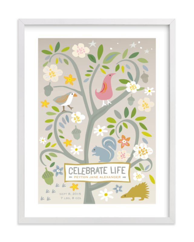 This is a brown nursery wall art by Griffinbell Paper Co. called Celebrate Life with standard.