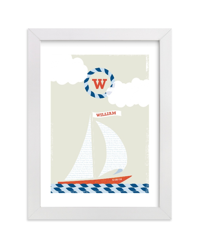 """""""Set Sail"""" - Nursery Custom Art Print by Kristie Kern in beautiful frame options and a variety of sizes."""