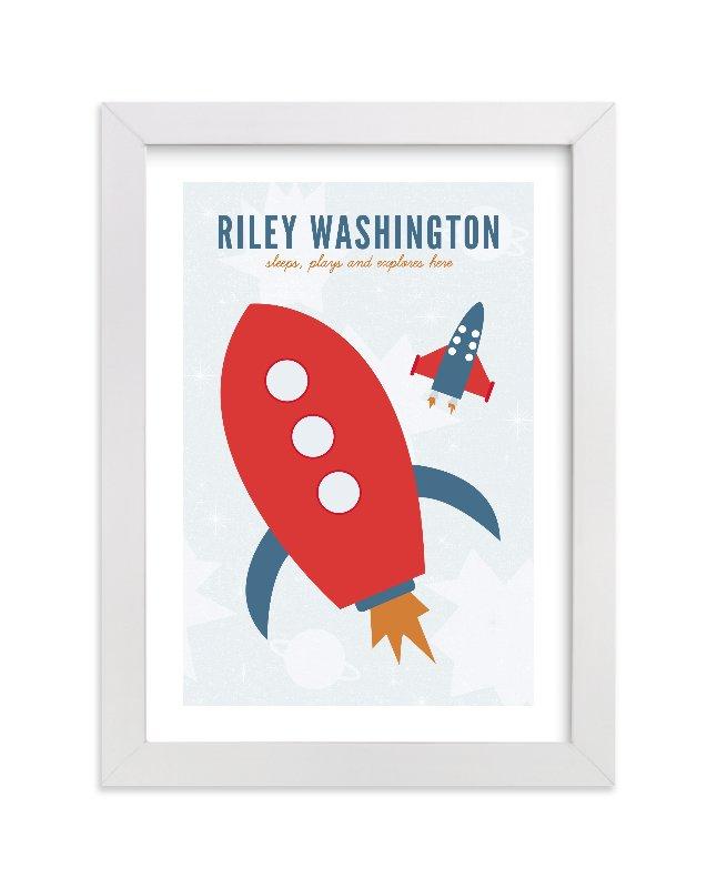 """Rocket"" - Nursery Custom Art Print by Sharon Rowan in beautiful frame options and a variety of sizes."