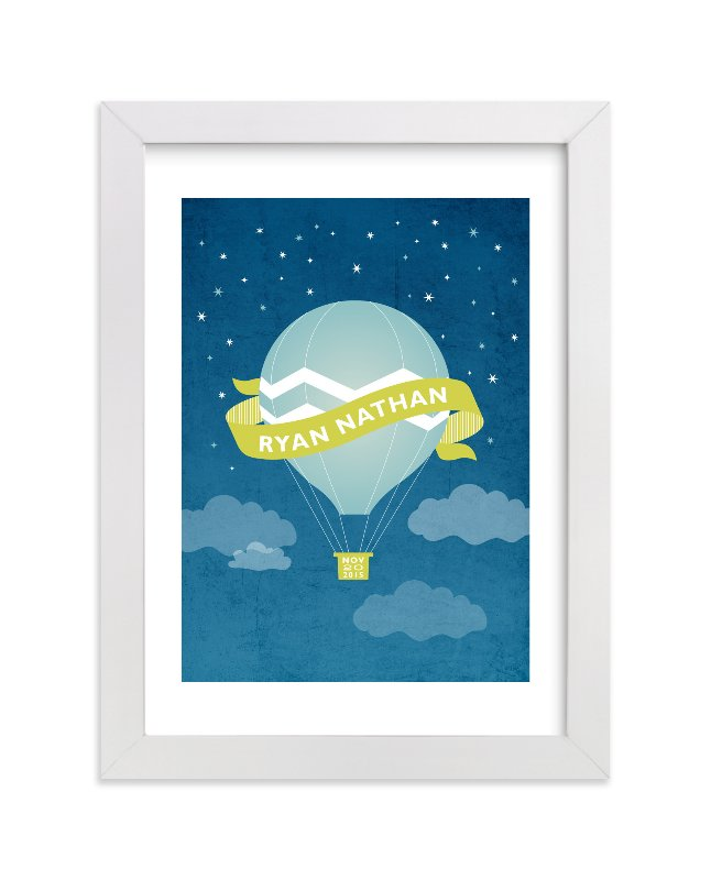 This is a blue nursery wall art by Jill Means called Night Ride with standard.