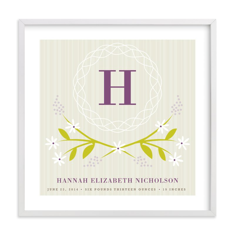 This is a purple nursery wall art by Kristie Kern called Initial Wreath with standard.
