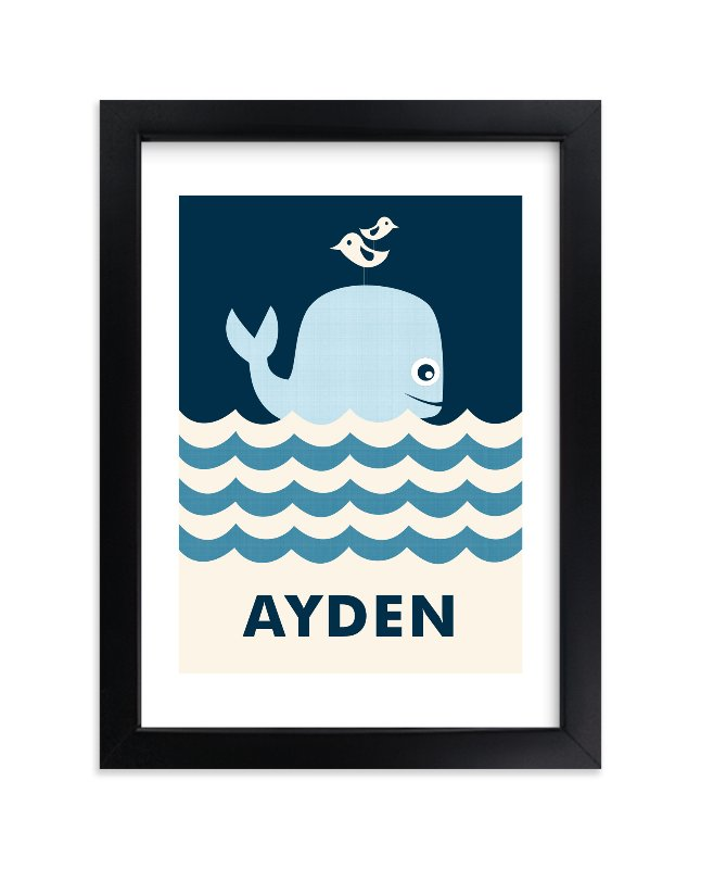 """""""Ocean Whale"""" - Nursery Custom Art Print by Creaform Design in beautiful frame options and a variety of sizes."""