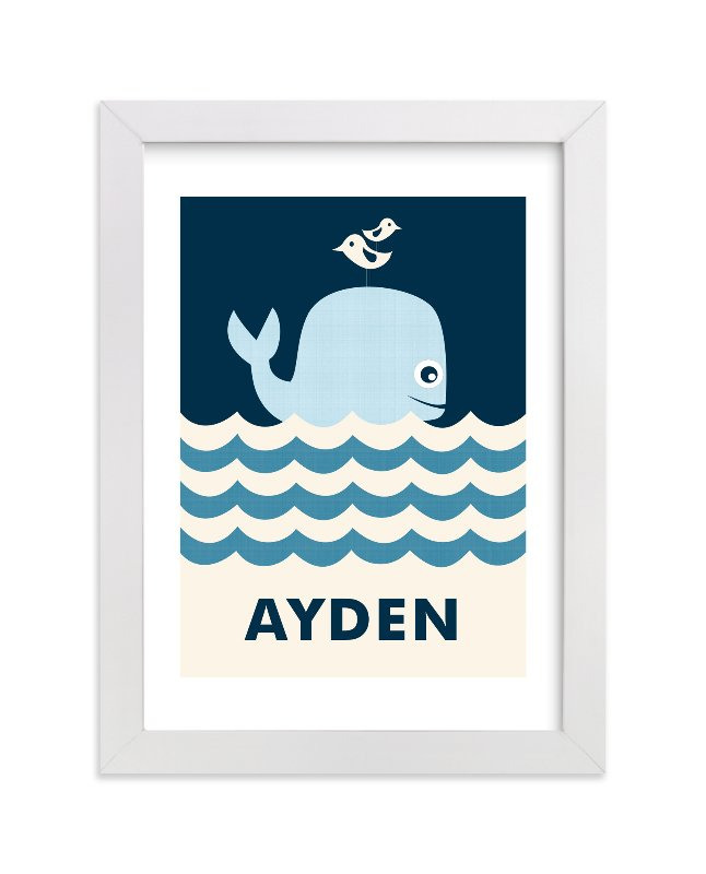 This is a blue nursery wall art by Creaform Design called Ocean Whale with standard.