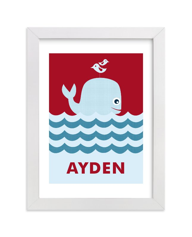 This is a red nursery wall art by Creaform Design called Ocean Whale with standard.