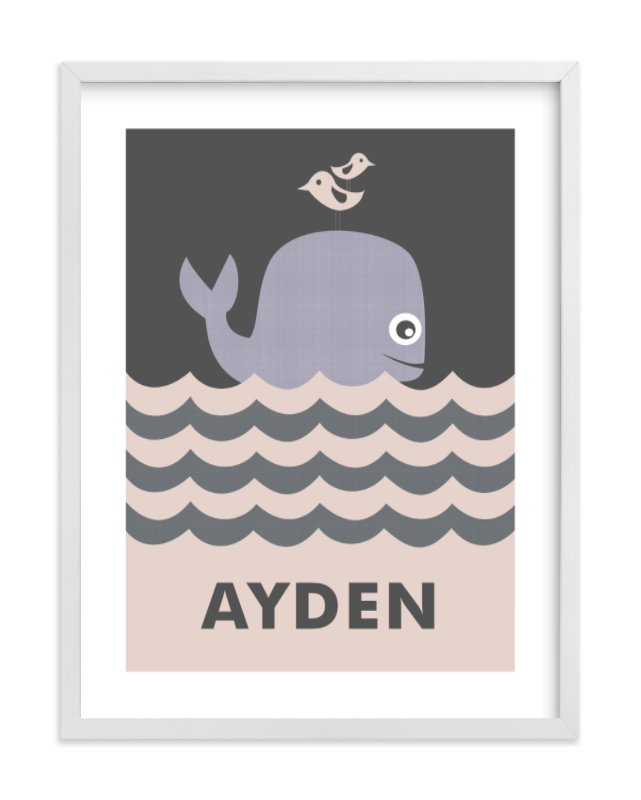 This is a grey nursery wall art by Creaform Design called Ocean Whale with standard.