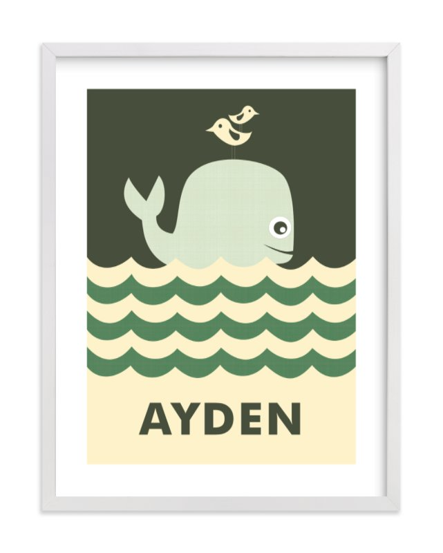 This is a green nursery wall art by Creaform Design called Ocean Whale with standard.