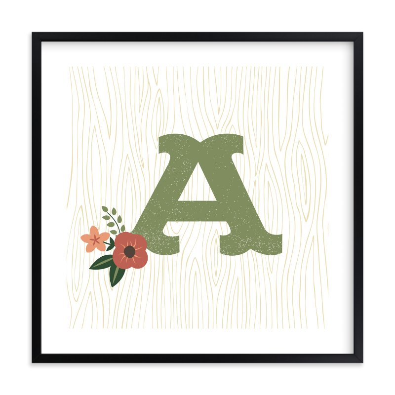 """Woodsy Monogram"" - Nursery Custom Art Print by Olivia Raufman in beautiful frame options and a variety of sizes."
