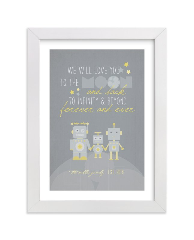 This is a grey nursery wall art by Dawn Jasper called Robot Family with standard.