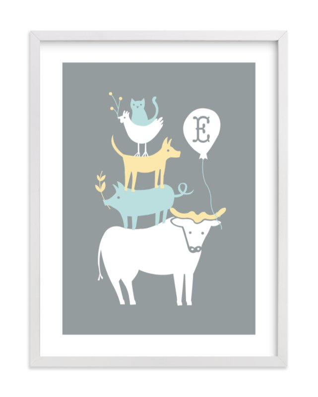 This is a grey nursery wall art by Moglea called Farm Party with standard.