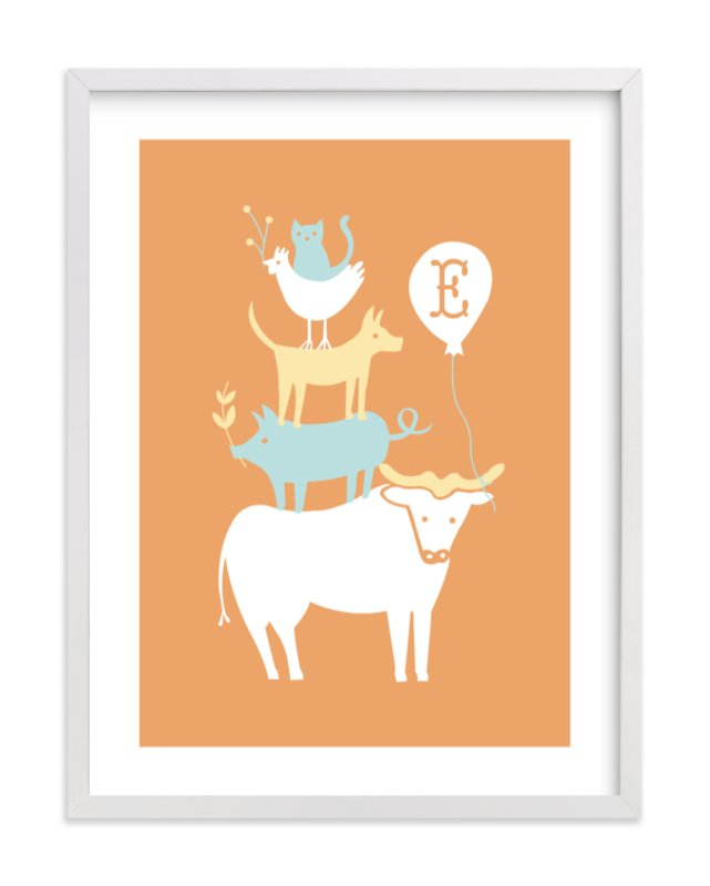 This is a orange nursery wall art by Moglea called Farm Party with standard.