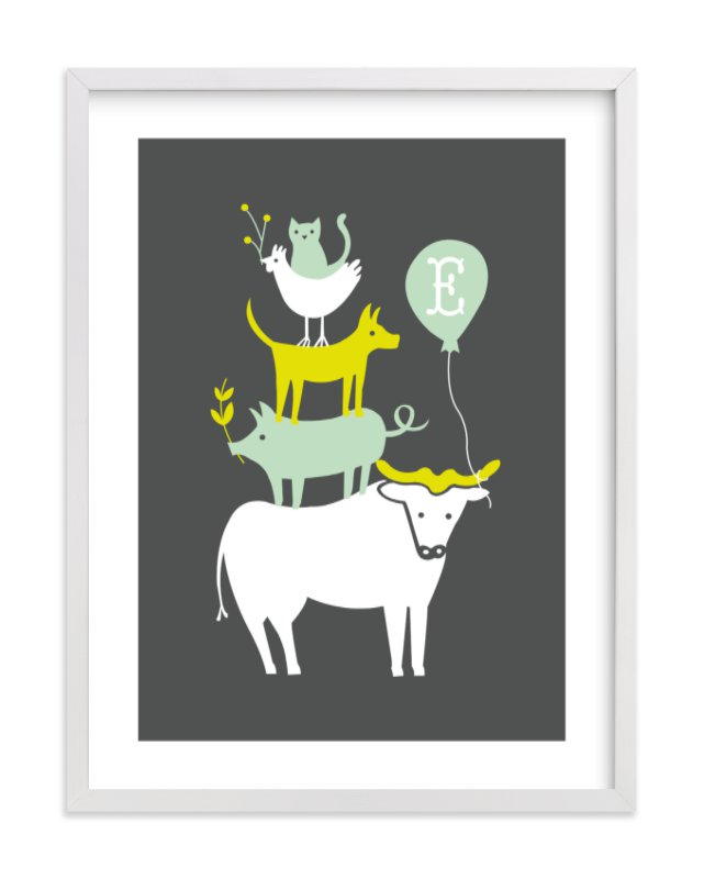This is a green nursery wall art by Moglea called Farm Party with standard.