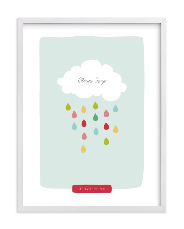 """Raindrops Keep Falling"" - Nursery Custom Art Print by Stacey Meacham in beautiful frame options and a variety of sizes."
