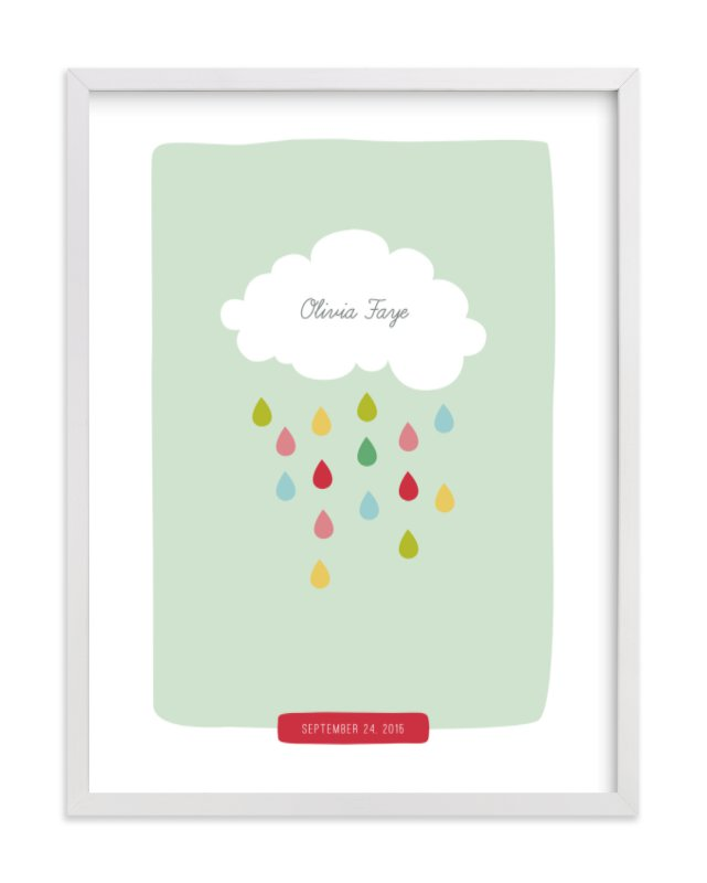 This is a green nursery wall art by Stacey Meacham called Raindrops Keep Falling with standard.