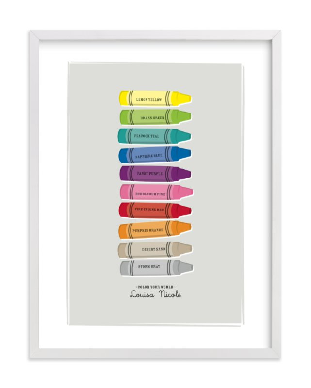 This is a grey nursery wall art by Ann Gardner called Color Your World with standard.