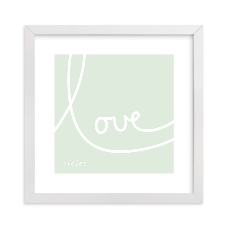 This is a green nursery wall art by Erin Pescetto called Sweet Sophistication with standard.