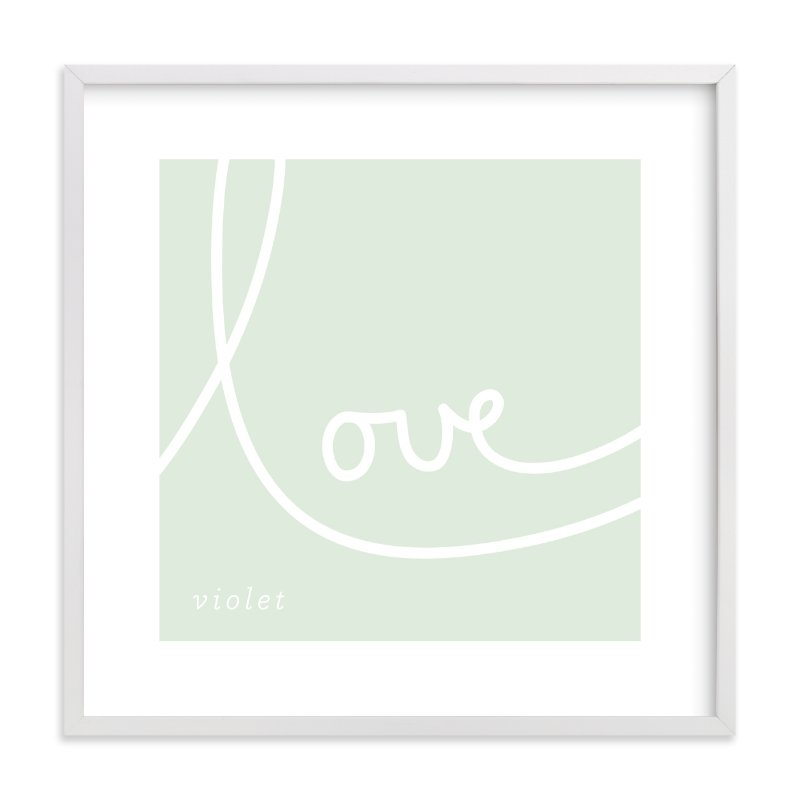 This is a green nursery wall art by Erin Pescetto called Sweet Sophistication.