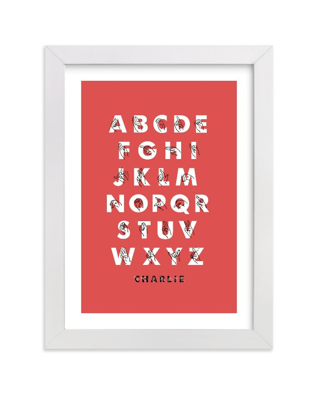 This is a red nursery wall art by ERAY called Signed ABCs with standard.