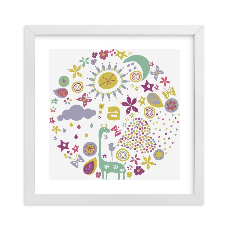 This is a purple nursery wall art by Bonjour Paper called Baby Allegoria with standard.