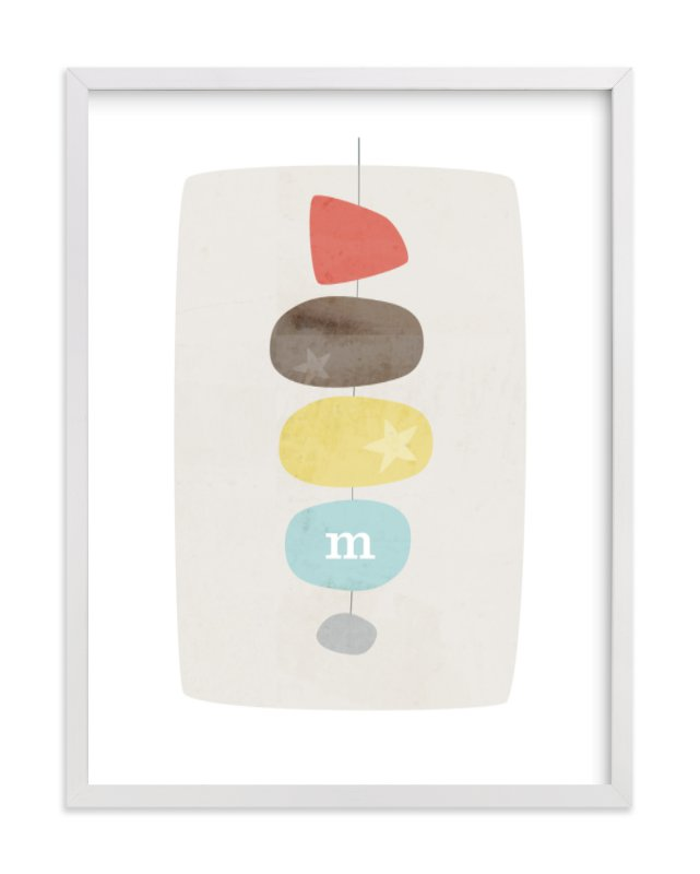 This is a red nursery wall art by Stacey Meacham called Mid-Century Monogram with standard.