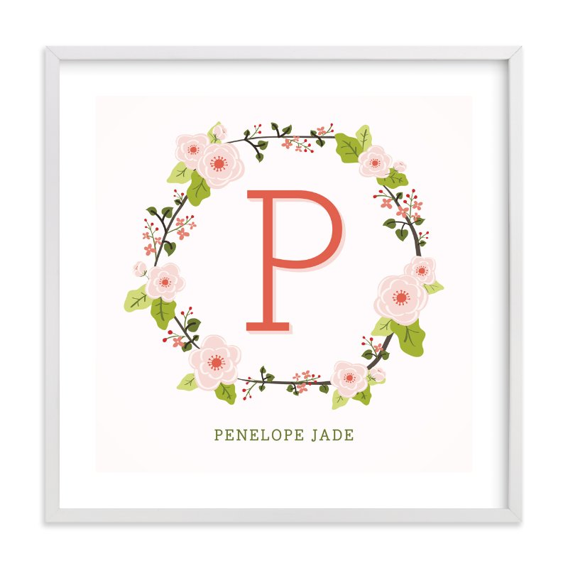 This is a pink nursery wall art by Lawren Ussery called Anemone Monogram with standard.
