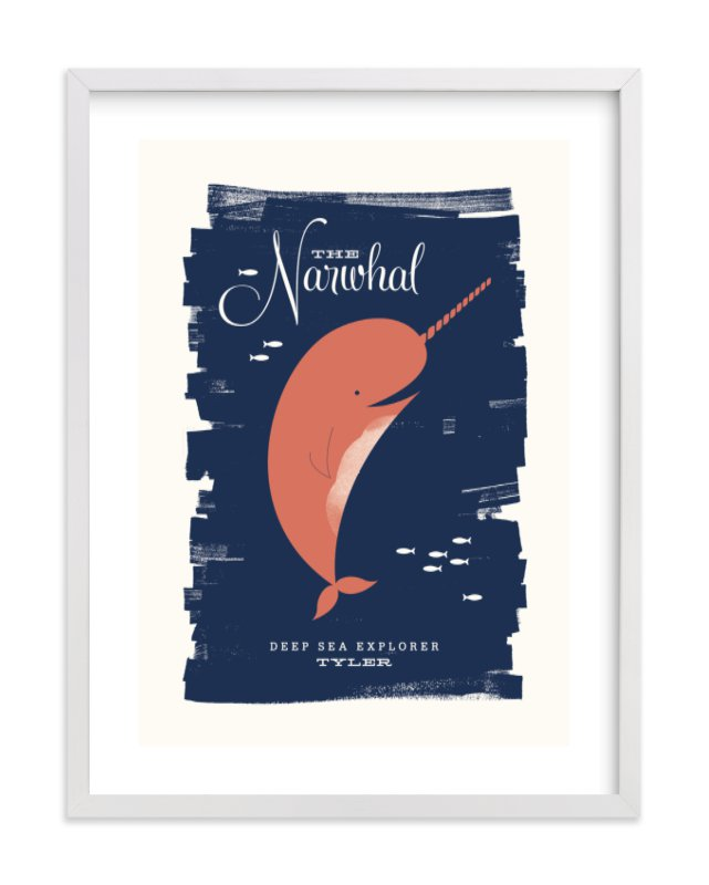 This is a orange nursery wall art by Monica Tuazon called Neighborly Narwhal.