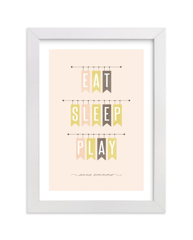 """""""Eat Sleep Play"""" - Nursery Custom Art Print by Stacey Meacham in beautiful frame options and a variety of sizes."""