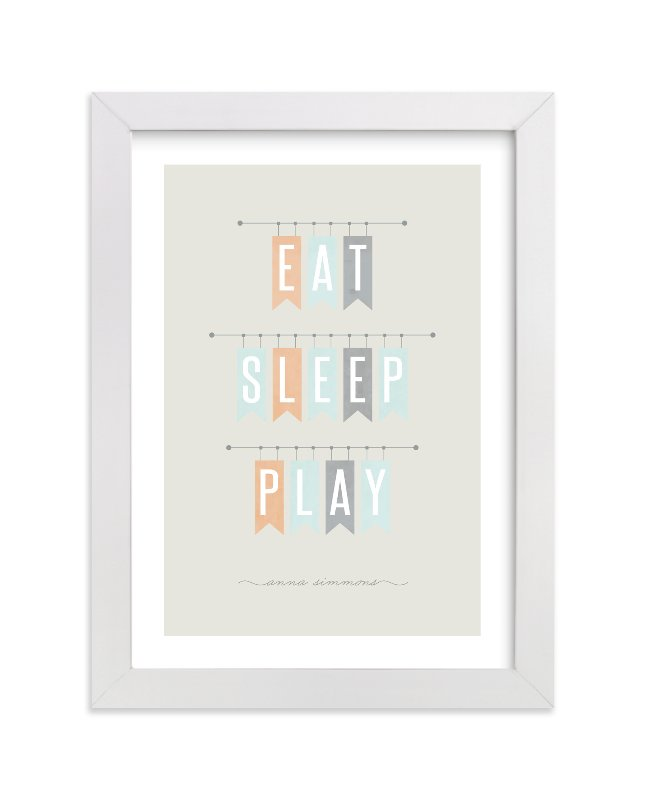 This is a beige nursery wall art by Stacey Meacham called Eat Sleep Play with standard.