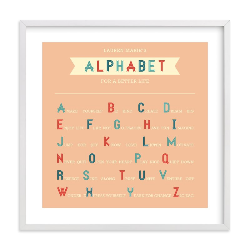 """Alphabet for a Better Life"" - Nursery Custom Art Print by Serenity Avenue in beautiful frame options and a variety of sizes."